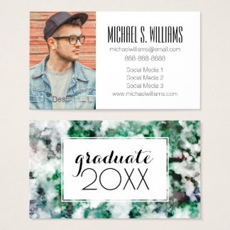 Photo Graduation   Marbled Quartz Texture Business Card