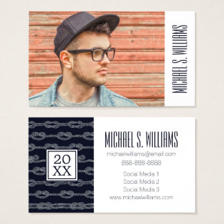 Photo Graduation | Marine Knots Pattern Business Card