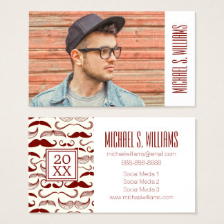 Photo Graduation | Mustache Pattern Retro Style Business Card