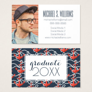 Photo Graduation | Nautical Anchors And Rope Business Card