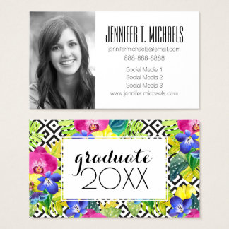 Photo Graduation | Orchid Begonia And Palm Leaves Business Card