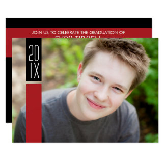 Photo Graduation Party - Red & Black Color Block Card