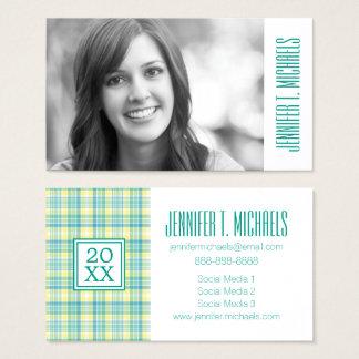 Photo Graduation | Pastel Plaid Business Card