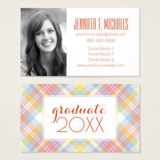 Photo Graduation | Pastel Stripe Plaid Business Card