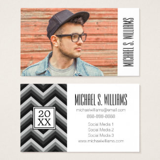 Photo Graduation | Pattern Retro Zig Zag Chevron Business Card
