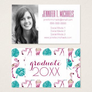 Photo Graduation | Pink Flamingos Business Card