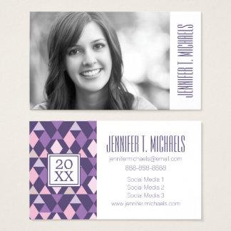 Photo Graduation   Purple Arabic Geometric Pattern Business Card