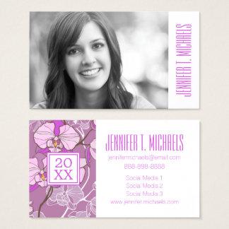 Photo Graduation | Purple Orchid Pattern Business Card