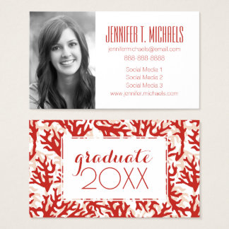Photo Graduation | Red Coral Pattern Business Card