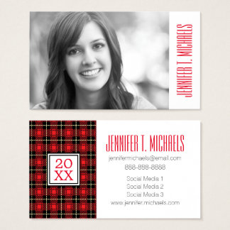Photo Graduation | Red Plaid Background Business Card