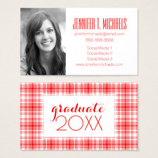 Photo Graduation | Red Plaid Business Card