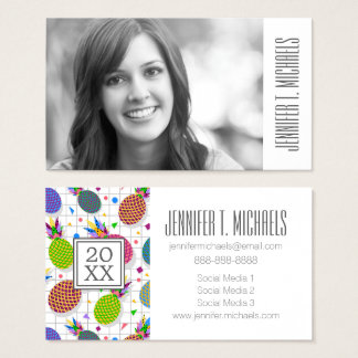 Photo Graduation | Retro Pineapple Pattern Business Card