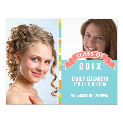 Photo Graduation Ribbon Bow Banner Personalized Announcements