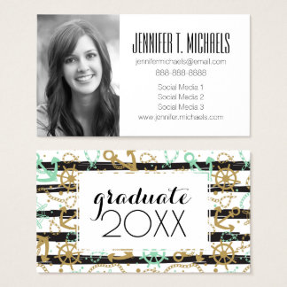 Photo Graduation | Sea Anchor Pattern Business Card