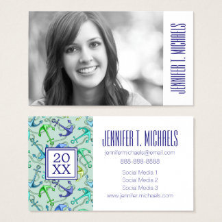 Photo Graduation | Sea Anchors And Rope Pattern Business Card