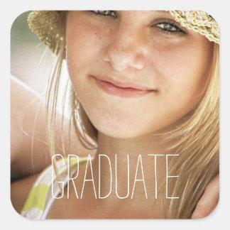 Photo Graduation Seals Modern High School Graduate Square Sticker