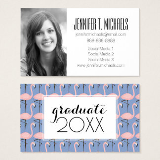 Photo Graduation | Tender Flamingo Pattern Business Card
