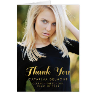 Photo Graduation Thank You High School Gold Foil Note Card