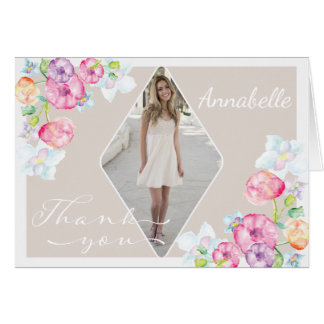 Photo Graduation Thank You with Watercolor Flowers Card