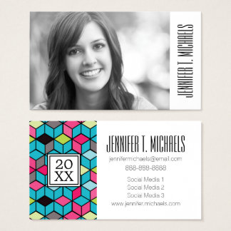 Photo Graduation   Turqouise and Pink Cube Pattern Business Card