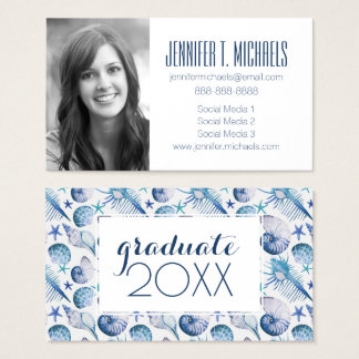 Photo Graduation | Watercolor Shells Business Card