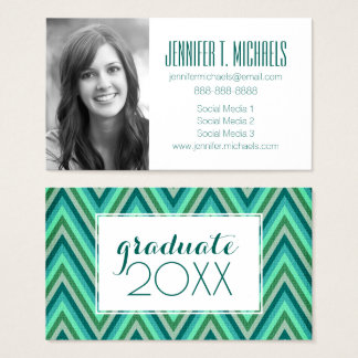 Photo Graduation | Zig Zag Striped Background Business Card