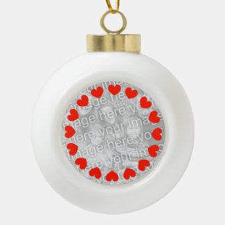 Photo heart Christmas balls | Add your own picture Ceramic Ball Christmas Ornament