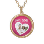 Photo Heart Frame Personalised Pink/White Round Pendant Necklace