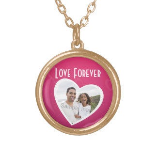 Photo Heart Frame Personalized Pink/White Gold Plated Necklace