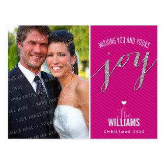 PHOTO HOLIDAY CARD chalkboard glitter type pink