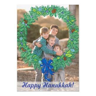 Photo Holiday Card: Happy Hanukkah Wreath Photo 13 Cm X 18 Cm Invitation Card