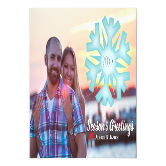 Photo Holiday Card Magnet - Snowflake