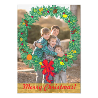 Photo Holiday Card: Merry Christmas Wreath Photo Card