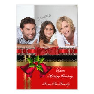 Photo Holiday Christmas Greetings Gold Red Black 11 Cm X 16 Cm Invitation Card