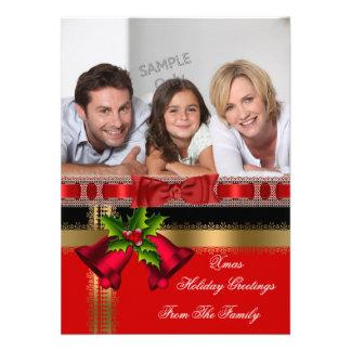 Photo Holiday Christmas Greetings Gold Red Black Invitation