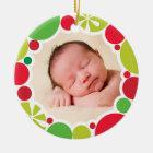 PHOTO HOLIDAY DECOR bright colourful bauble wreath Ceramic Ornament