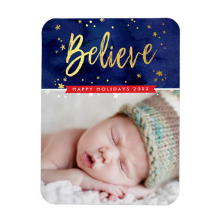 PHOTO HOLIDAY gold believe magical christmas Rectangular Photo Magnet