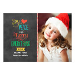 Photo Holiday Greeting Card | Black Chalkboard Personalised Announcements
