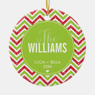 PHOTO HOLIDAY ORNAMENT chevron glitter red green