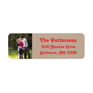 Photo Holiday Return Address Labels: Kraft Colored Return Address Label
