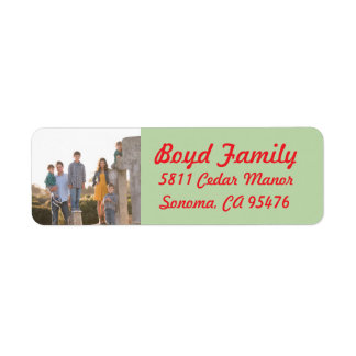 Photo Holiday Return Address Labels: Red & Green Return Address Label
