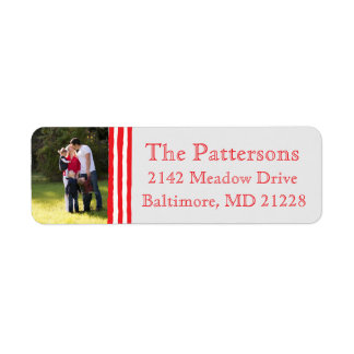Photo Holiday Return Address Labels: Striped Photo Return Address Label