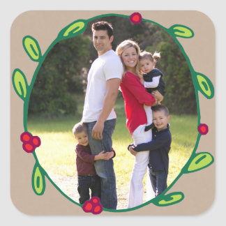 Photo Holiday Sticker: Rustic Foliage Wreath Photo Square Sticker