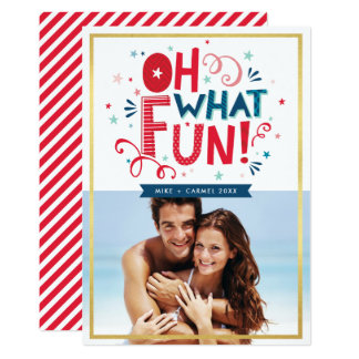 PHOTO HOLIDAY TYPOGRAPHY cool festive oh what fun Card