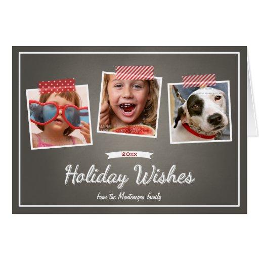 Photo Holiday Wishes Christmas Chalkboard Folded Greeting Cards