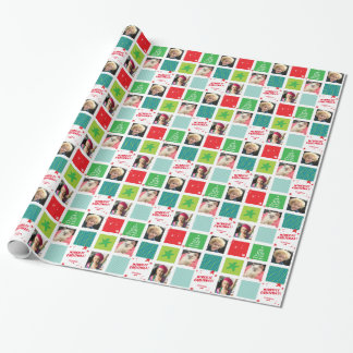 PHOTO HOLIDAY WRAP star christmas red green blue Wrapping Paper