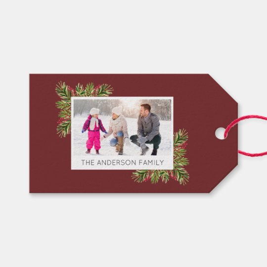 Photo I Watercolor Pine Needles Christmas Gift Tags