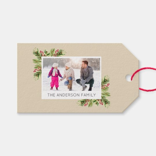 Photo I Watercolor Pine Needles Merry Christmas Gift Tags