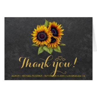 Photo inside rustic sunflowers thank you wedding card