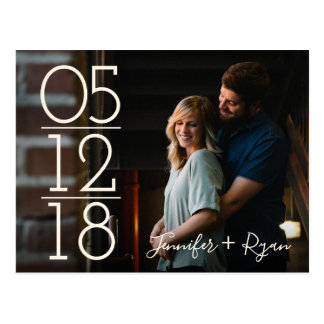 Photo Large Date Modern Save the Date Postcard